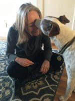 "Theo, the supposedly ""nippy"" dog gives me kisses!  I love my work!"
